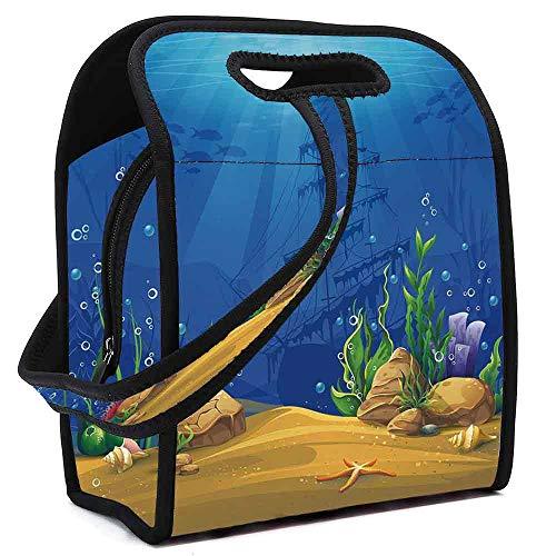 - Aquarium Practical Neoprene Lunch Bag,Marine Life Landscape Sunken Ship Silhouette Corals Fishes Tropics Decorative for School Trip Work,Square(8.5''L x 5.5''W x 11''H)