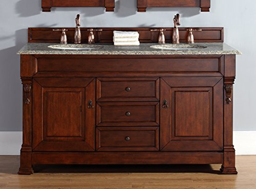 "James Martin Furniture Brookfield 60"" Double Cabinet, Warm Cherry 2cm Santa Cecilia Granite top from James Martin Furniture"