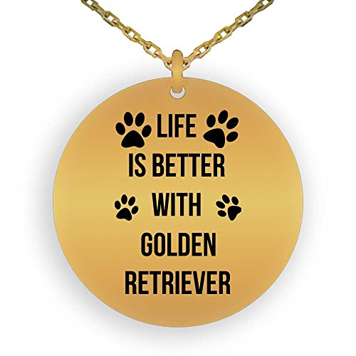 HOM 18K Gold Plated Pendant Necklace For Dog Lovers Life is Better With Golden Retriever | Best Gift For Golden Retriever Dog Lovers | Gifts for Boys Girls Men Women Ladies Laser Engraved