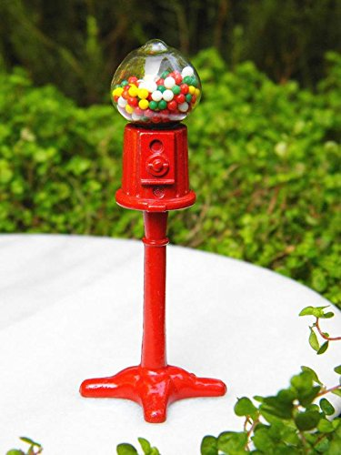 My Fairy Gardens Miniature Accessories - Red Metal Gumball Machine - Mini Dollhouse Supply Expressions