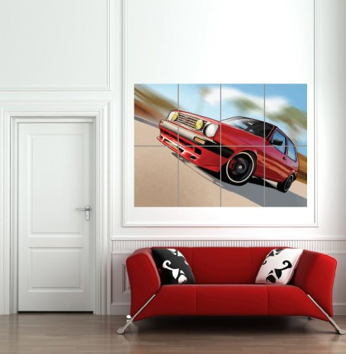Volkswagen Golf Mk1 Vw Car Automobile Red Classic Design Giant Art Print Wall Poster