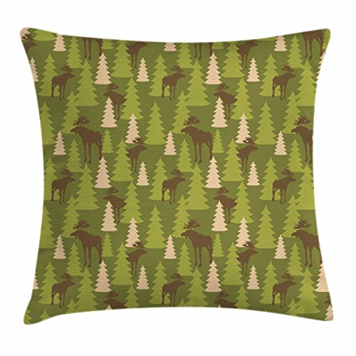 Ambesonne Deer Throw Pillow Cushion Cover, Animals in the Forrest Mooses and Pine Trees Pattern Canada Foliage Mammal Design, Decorative Square Accent Pillow Case, 18 X 18 Inches, Green Tan Brown (Canada Bench Bath)