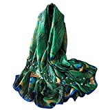 JLTPH Women Soft Scarves Green Peacock Feather Printing Scarf Sun Protection Shawl