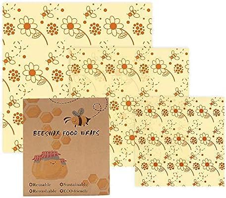 Paquete de 3 envolturas de cera de abeja biodegradables MMTX ...