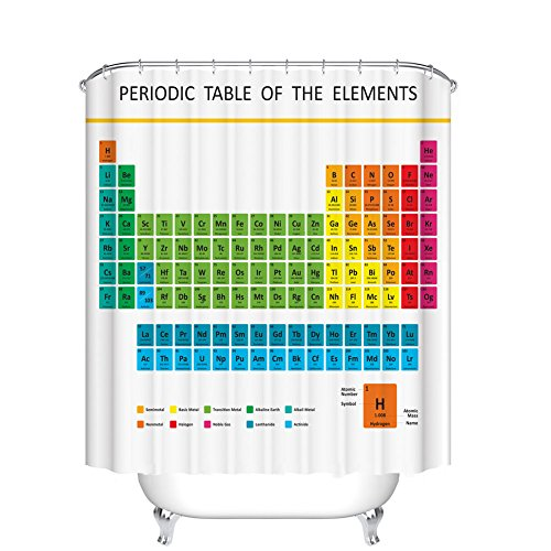Fangkun Custom Shower Curtain Periodic Table of Chemical Elements - Waterproof Mildew resistant - Polyester Fabric Bath Curtains Decor Set - 12pcs Shower Hooks (YL094#, 72 x 72 - Periodic Table Shower