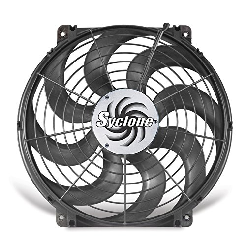 Flex-a-lite 398 Syclone Black 16'' S-Blade Reversible Electric Fan by Flex-a-lite
