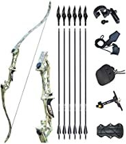 """Tongtu 57"""" 30-60LBS Recurve Bow and Arrows for Adult Right Hand Archery Hunting Takedown Bow Set with Arr"""