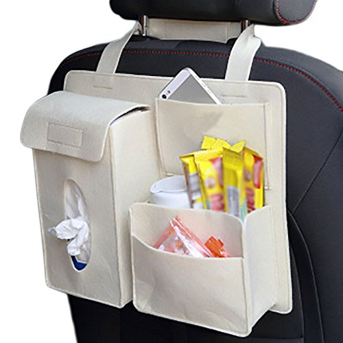 Gespout Car Felt Storage Bag for Car Seats Keep the Car Clean 4 Pockets White: Amazon.co.uk: Kitchen & Home