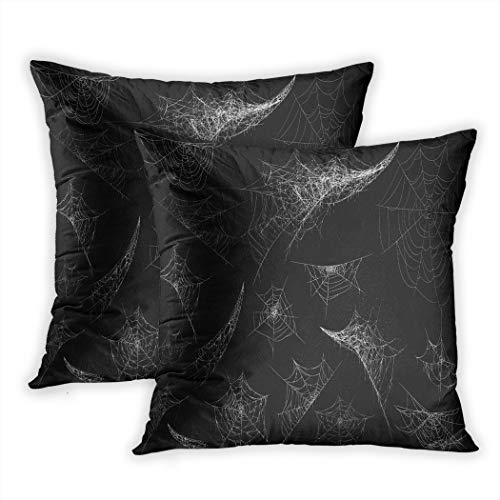 Suike Set of 2 Throw Pillow Covers Collection of Cobweb Spiderweb for Halloween Spider Spooky Scary Horror Polyester Soft Cozy Square Decorative Pillowcases for Sofa Bedroom 16X16 Inches]()