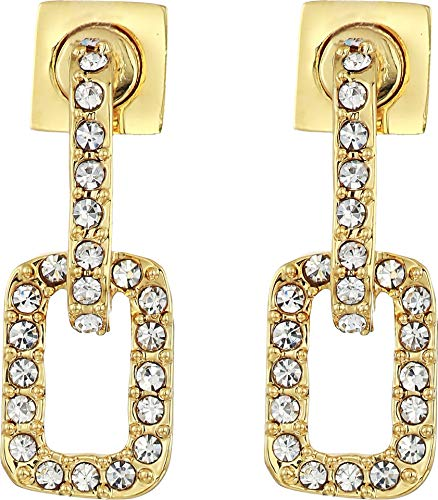 Vince Camuto Women's Pave Link Stud Earrings Gold/Crystal One - Earrings Pave Link