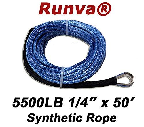 Runva Universal Winch Synthetic Rope 1/4' x 50' 5500lb