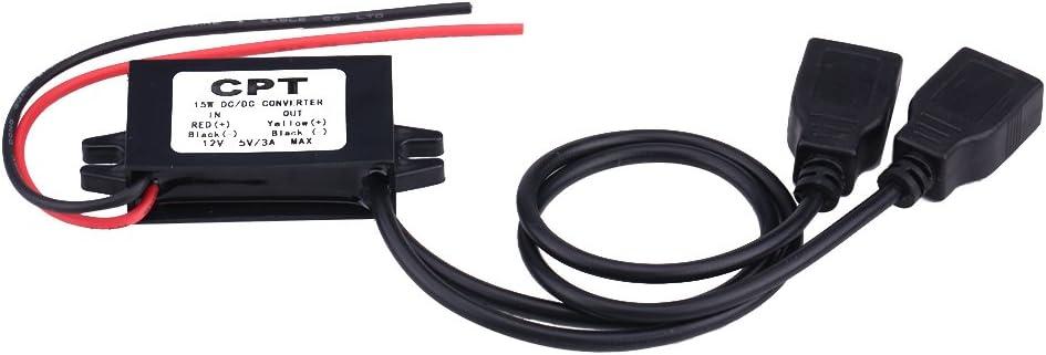 DC 12V a DC 5V Adaptador doble cargador USB, módulo convertidor Adaptador doble de energía Convertidor Buck Módulo de fuente de alimentación reductor para la carga del teléfono de la motocicleta del c