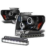 Ford F150 12th Gen Dual Halo Projector LED Black Housing Amber Corner Headlight+Smoked DRL 8 LED Fog Light