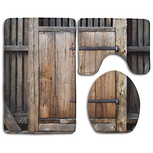 (Bathroom Rug Antique Rustic Antique Wooden Door Exterior Facades Rural Barn Timber Weathered 3 Piece Bath Mat Set Contour Rug and Lid Cover )