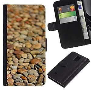 Paccase / Billetera de Cuero Caso del tirón Titular de la tarjeta Carcasa Funda para - Beach Brown Pattern Focus - Samsung Galaxy Note 4 SM-N910