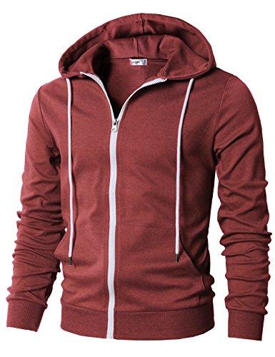 H2H Men¡¯s Contrast Long Sleeve Round Bottom Raglan Hoodie Henley T-Shirts Maroon US M/Asia L (Big Head Zip)