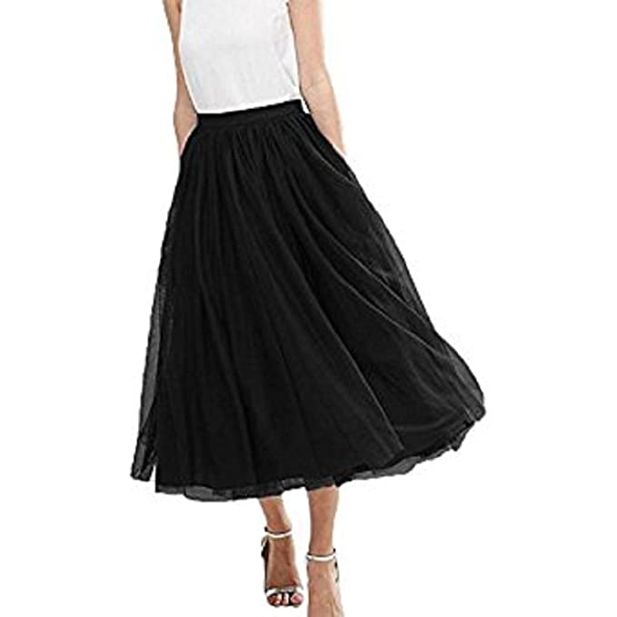 Omelas Women S Midi Tulle Skirt High Waisted Long Tutu Prom Party Casual Dress