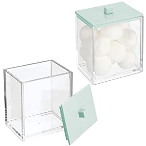mDesign Modern Square Bathroom Vanity Countertop Storage Organizer Canister Jar for Cotton Swabs, Rounds, Balls, Makeup Sponges, Bath Salts - 2 Pack - Clear/Mint Green