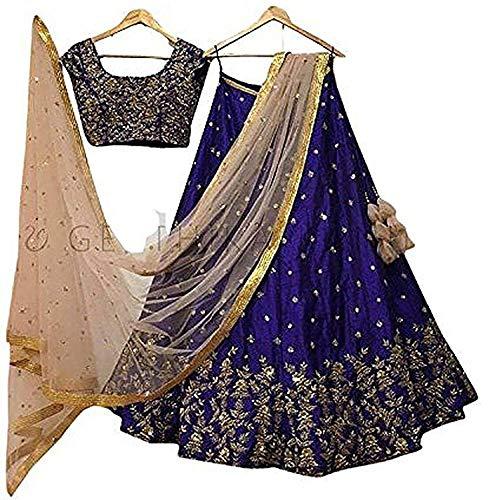 REKHA Ethinc Shop Embroidered Work Indian Bollywood Designer Lehenga Choli Ethnic Look Women Semi-Stitched Lehenga Choli A314 Blue