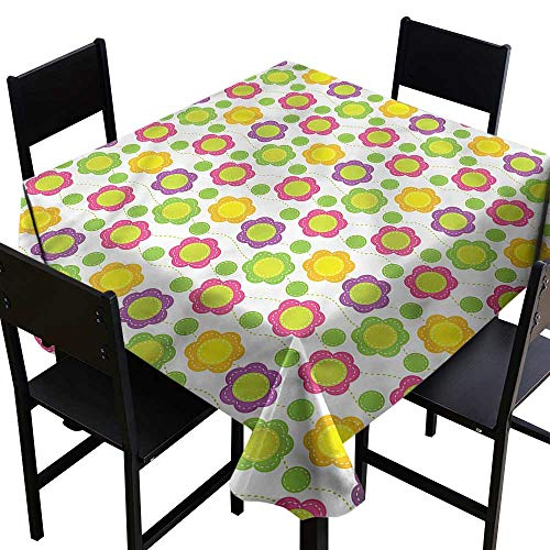 Anshesix Decorative Textured Fabric Tablecloth Green Flower Applique Design Table Decoration W63 xL63 Waterproof/Oil-Proof/Spill-Proof Tabletop ()