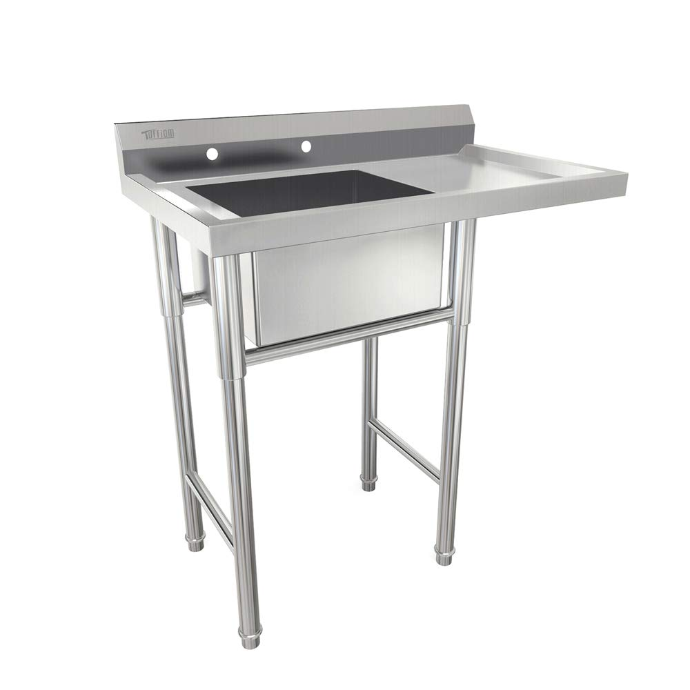 Bonnlo Commercial Stainless Steel Utility Sink with Drainboard Laundry Sink for Outdoor,Kitchen, Backyard, Garages - 18''L x 15.8'' W x 8.8''D Inner Tub Size