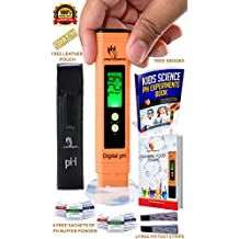 Digital pH Meter Full Kit, 6 pH buffer powder, pH Test Strips, Leather Pouch, Alkaline Food Chart, Auto Calibration Button, pH Testing, Aquarium, Water, Swimming Pool, Hydroponics, Kombucha, ph meters