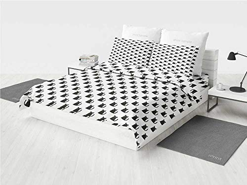 - Cat sage Bedding Set Abstract Black Cat Figures with Pinkish Cheeks Modern Design Animals Monochrome Decorative Printing Four Pieces of Bedding Set Black White Pink