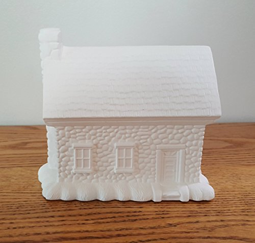 (Single Story Cut Stone House unpainted ceramic bisque ready to be painted Christmas Village)