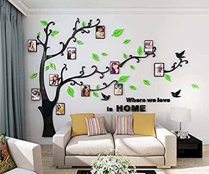145943d584 Alicemall 3D Wall Stickers Photo Frames FamilyTree Wall Decal Easy to  Install &Apply DIY Photo Gallery Frame Decor Sticker Home Art Decor(Green):  ...