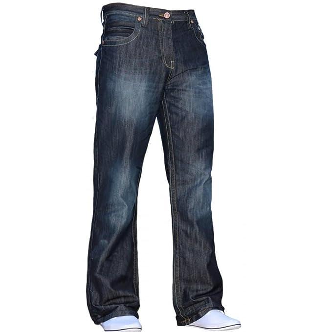 884af137bd5 BNWT New Mens Bootcut Flared Wide Leg Dark Blue Denim Jeans All Waist    Sizes  Amazon.co.uk  Clothing