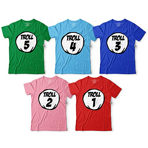 Troll 1 2 3 Number Halloween Group Matching Crew Squad Customized Handmade T-Shirt Hoodie/Long Sleeve/Tank Top/Sweatshirt -