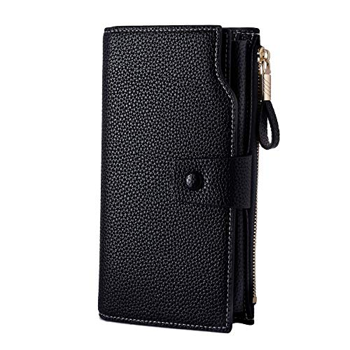 WOZEAH Women's RFID Blocking Large Capacity Luxury Wax PU Leather Clutch Wallet Card Holder Organizer Ladies Purse (A black) ()