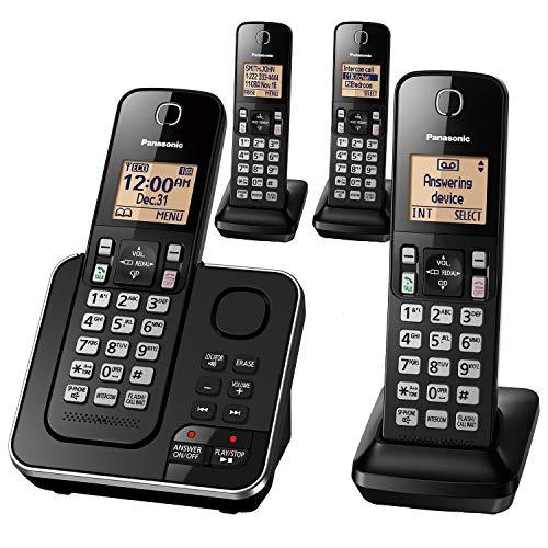Panasonic Expandable Cordless Phone System with Answering Machine, Call Block, Intercom, Speakerphone, and Amber Backlit Display - 4 Handsets - KX-TGC364B (Black)