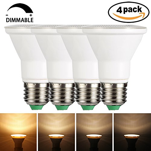 GreenSun LED Lighting PAR20 LED Bulb Dimmable 7W Warm White 3000K E27 LED Flood Light Bulb Spotlight Lamp 3030 SMD AC 85-265V Downlight Bulb, Recessed Lighting, Track Lighting (4 - 01 Recessed Accessory Lighting