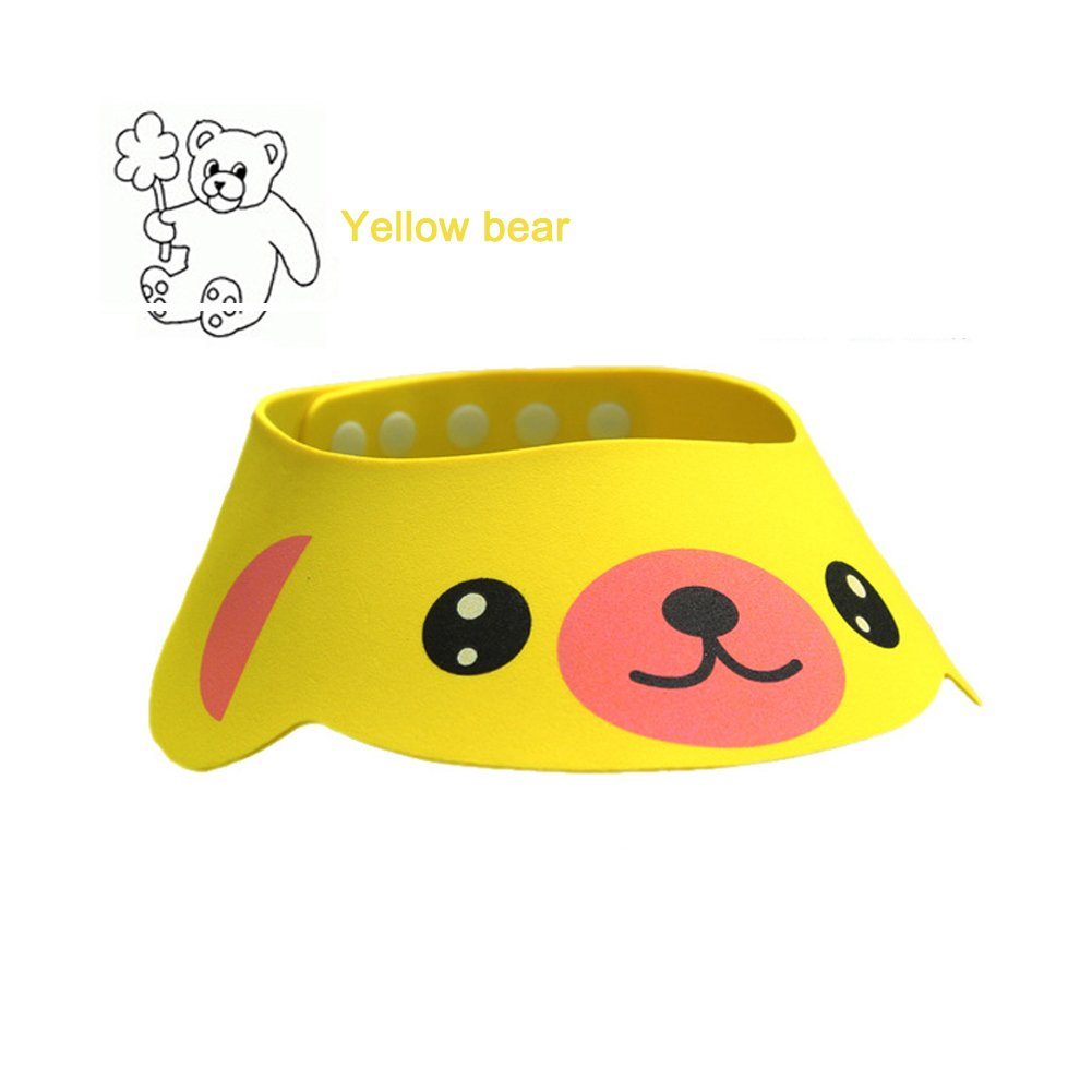 Four Gear Adjustments Rely2016 3Pcs Baby Shower Bathing Cap Frog Pig Bear Shampoo Hat
