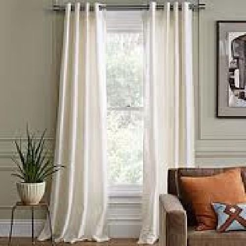 Gorgeous Home 2 Faux Silk Window Curtain Panel 55 By 84 Inch Total Width 110 X Length Solid Ivory Off White 8 Bronze Grommets