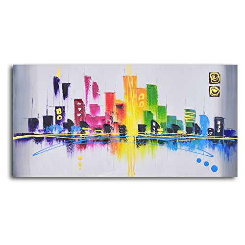 TJie Art Hand Painted Mordern Oil Paintings,Rainbow City Scape Oil Painted Wall Art,Modern landscape painting in abstract style, Entirely hand-painted by skilled artist, Made with oil paints on canvas, Gallery wrapped and stretched over wood frame