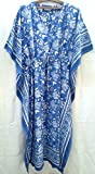 Cobalt Blue & White Chinoiserie Manchu Floral Anokhi Hand block print Long Indian cotton Kaftan One Size