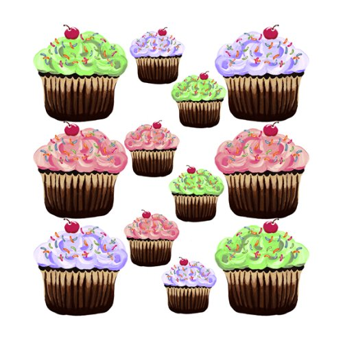 Pink Purple Green 12 Cute Cupcakes Wall Stickers - Wall Cupcake Stickers