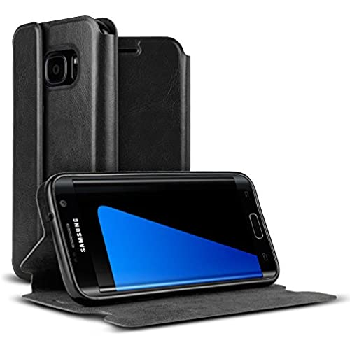 Galaxy S7 Edge Case, VALKYRIE Galaxy S7 Edge Premium Folio Wallet Case [Magnetic Flap, Stand, Card Slot] BLACK Sales