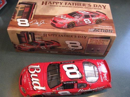 Fathers Day Car - 2004 Dale Earnhardt Jr #8 Red Budweiser Monte Carlo Fathers Day 1/24 Scale Diecast Car Bank Opening Hood Limited Edition Only 1008 made Basically 20 Per State!