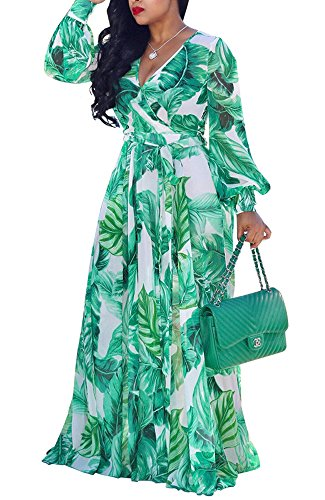 Bbalizko Womens Summer V Neck Long Sleeve Floral Printed Chiffon Long Maxi Dresses