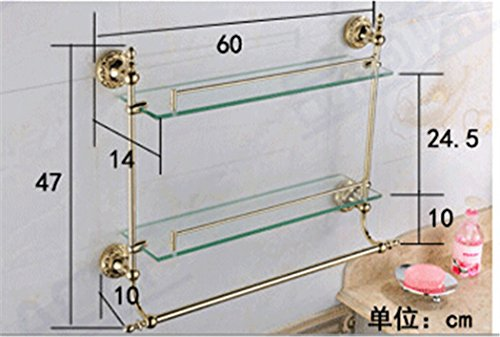 WINCASE Solid Brass Material Mounted Bathroom Shelf Double Layer Glass with Towel Bar Gold Finish, Concealed Screws Mounting Lavatory Shower 18.5 Inch Length by WINCASE (Image #5)