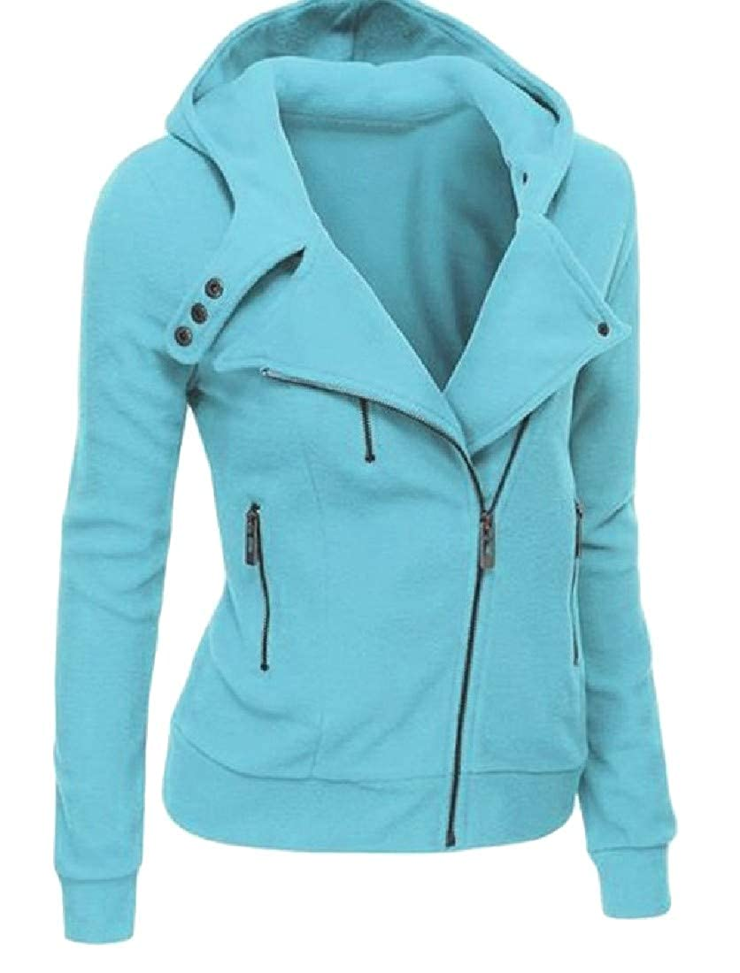 YUNY Women Hooded Solid Colored Zip-up Pullover Sweatshirt 2 2XL