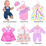 Ebuddy 6 Sets Clothes Outfits Costume for 14 to 16 Inch Alive Baby Dolls, New Born baby Dolls and 18 Inch American Girl