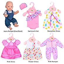 Ebuddy 6 Sets Doll Clothes Outfits for 14 to 16 Inch New Born Baby Dolls, Bitty Baby Dolls and 18 Inch American Girl
