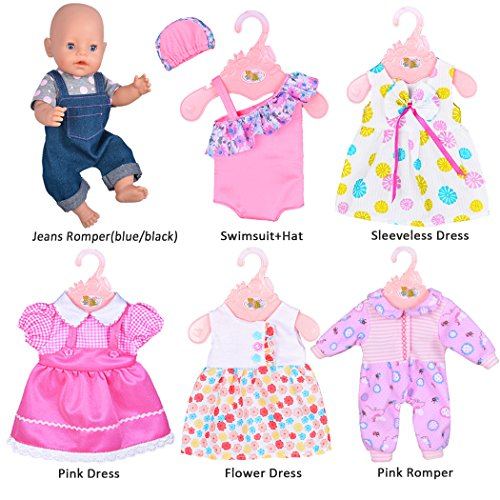 ebuddy 6 Sets Doll Clothes Outfits for 14 to 16 Inch New Born Baby Dolls and for 18 Inch American Girl