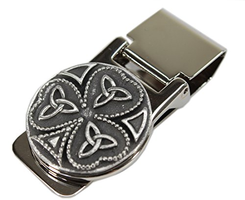 Celtic Money Clip Shamrock Stainless Steel & Pewter Made in Ireland