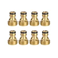 HQMPC Garden Hose Quick Connector. ¾ inch GHT Brass Easy Connect Fitting Male Only