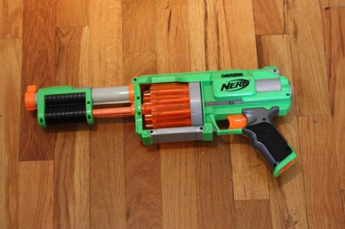 2009 Hasbro, Inc. Hasbro Dart Tag Fury Fire Lime Green/orange Dart Toy-gun (Requires Nerf Dart Tag Darts)(lime Green/orange/black/grey (Nerf Dart Tag)